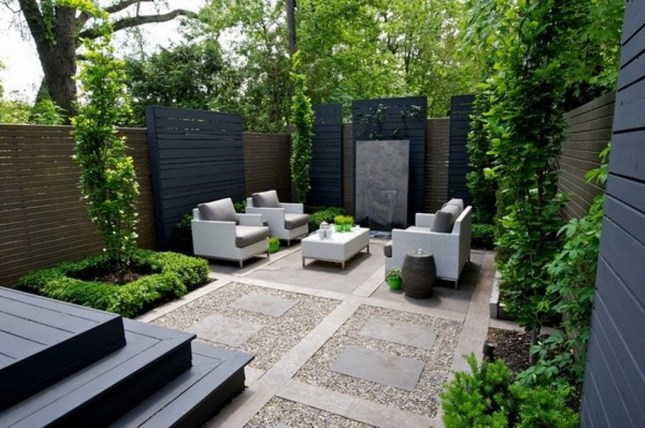 White-Furniture-Ideas-with-Lush-Green-Plants-for-Elegant-Landscaping-Ideas-For-Small-Backyards-Using-Modern-Concrete-Patio